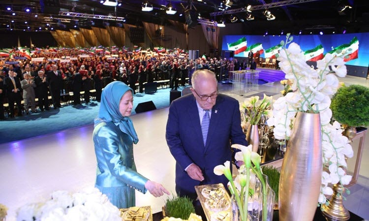 NCRI Staff - Madame Maryam Rajavi met with Mayor Rudy Giuliani after addressing the Iranian people on Nowruz, wishing them the best for the upcoming year and communicating her hopes for a year of uprisings among the Iranian people against the clerical regime.